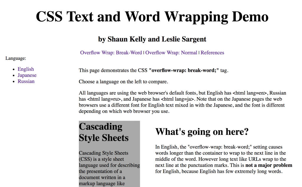 "CSS ""Overflow-Wrap"" on Multilingual Websites – Shaun Kelly"